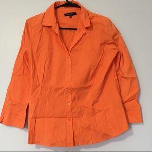 LAFAYETTE 148 orange 3/4 sleeve button up shirt
